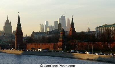 The Kremlin And The Moscow City in December 2015