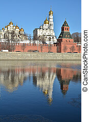 The Kremlin cathedrals and the Ivan the Great bell tower.