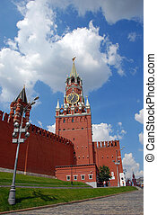 The Kremlin Spasskaya tower on Red Square in Moscow