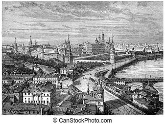The Kremlin, vintage engraving.