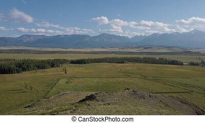 Kurai steppe and Chuya river between the Kurai and the North Chuia Ranges in the south-eastern Altai, Siberia, Russia