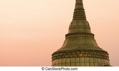 The Kyaiktiyo Pagoda on Top of Golden Rock - Handheld,...