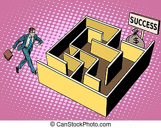 The labyrinth path to success business concept