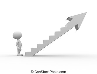3d people - men, person climb the ladder of success