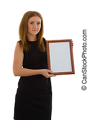 The lady is holding a wooden frame