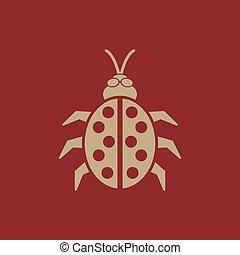 The ladybug icon. Ladybird and bug, beetle symbol. Flat