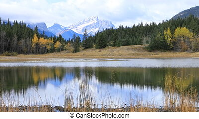 Lake and Mountains at Bowman Valley Provincial Park, Canada...