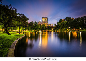 The lake at the Public Garden and buildings at Copley at...