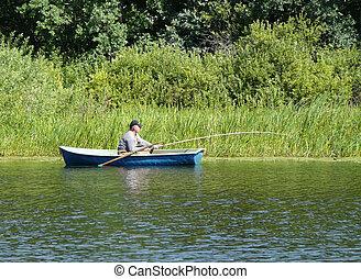 The lake. Fishing men on the boat