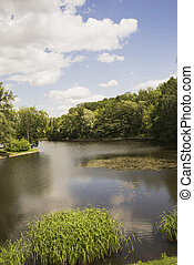 The lake in the Park in the summer.