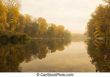 The lake in the wood in the fall.