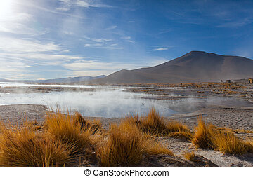 the lake is heated by a volcano at an altitude of five thousand meters above sea level in the Bolivian Alps