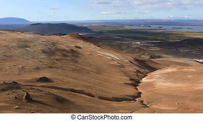 The Lake Myvatn place in northern Iceland - Panoramic view...