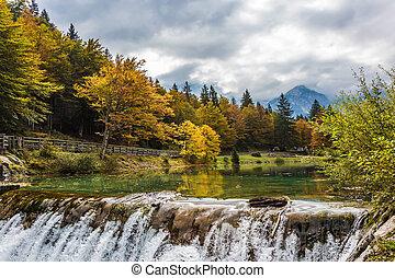 The lake of Lago de Fusine in the mountain - The beautiful...