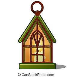 The lamp in the shape of the house with a candle. Sketch for greeting card, festive poster or party invitations.The attributes of Christmas and New year. Vector illustration.