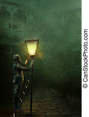 The lamplighter illuminates the streets in Old Tbilisi