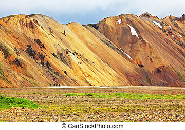 The Landmannalaugar nature reserve - Smooth orange rhyolite ...