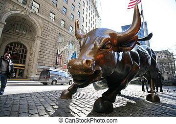The landmark Charging Bull in Lower Manhattan represents the...