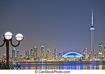 The landmark Toronto downtown view from the center island. ...