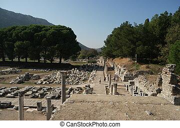 The landscape of Ephesus ancient greek city ruins.