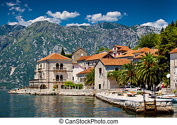 The landscape of Perast town in Montenegro