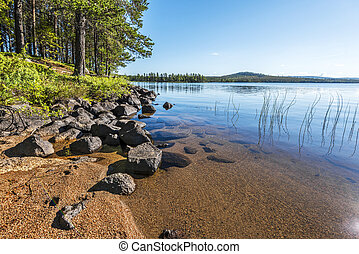 The landscape of Siebdniesjavrrie lake coastline in Swedish Lapland. Sandy beach with stones is at foreground, the pine forest is at right. Vasterbotten county, Norrland, Sweden.