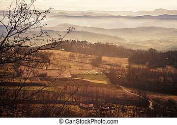 The landscape of the Serbian village - Fields, hills and...
