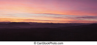The landscape of the Serbian village - Sunset at the...