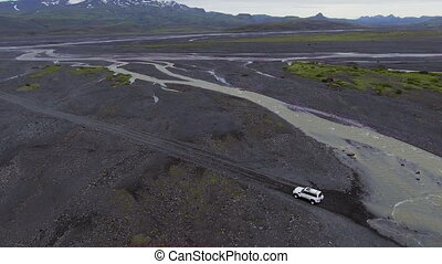 The landscape of Thorsmork in highland of Iceland from drone aerial view.