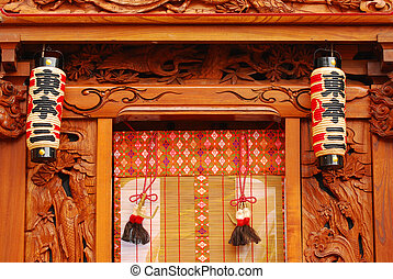 lanterns in front of a Japanese temple