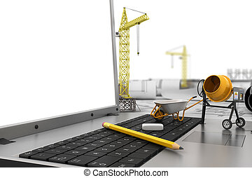 Blueprints and tablet on office table in the construction stock the laptop with empty screen and object for construction blueprints and safety helmet over a malvernweather Gallery
