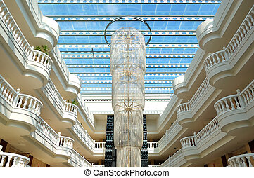 The large chandelier at lobby in luxury hotel, Tenerife ...