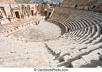 the Large South Theatre - in antique town Jerash, Jordan