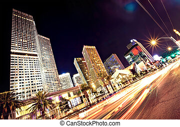 The Las Vegas Strip at night. Long exposure