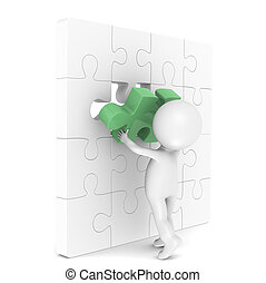 3d little human character with a Placing the last Piece of a Jigsaw Puzzle. Green.