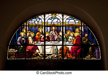 The Last Supper Glowing in the dark - A stained glass window...