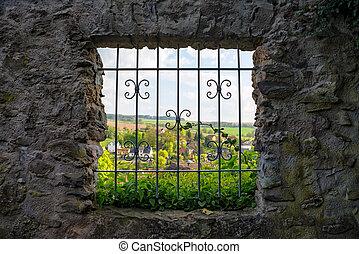 Lattice windows in the castle wall
