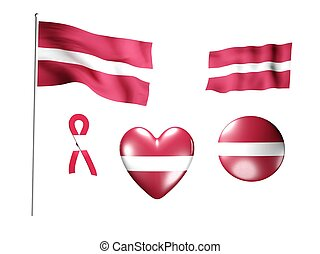 The Latvia flag - set of icons and flags