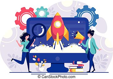 The launch of a new business in a young developing company. metaphor of rocket launch into space from the site. vector illustration business in a flat colorful cartoon style