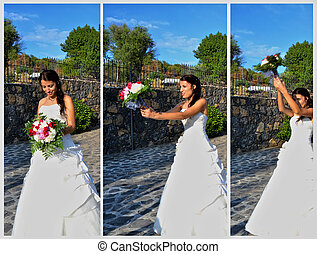 The launch of the bride's bouquet