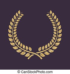 The laurel wreath icon. Prize and reward, honors symbol. Gold sparkles and glitter