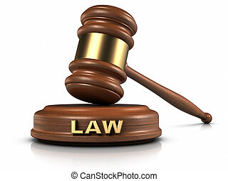 "The Law - Gavel and ""LAW"" word writing on sound block."