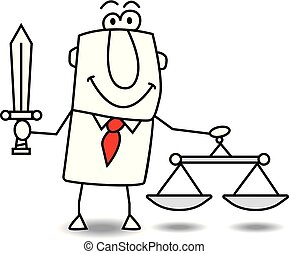 the law is the law - A man holds a balance and a sword. It...