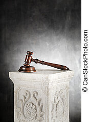The Law - High quality mahogany gavel with sound block on a...