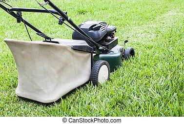 The Lawn mower  working in the green yard