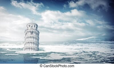 The Leaning Tower of Pisa submerged in the sea, could be used to show climate change, the end of the world, or other disaster event