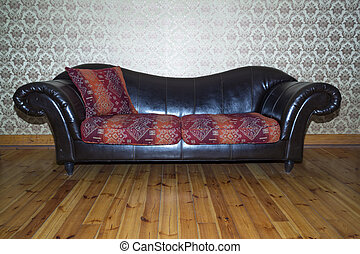 the leather sofa in living room