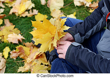 The leaves in the hands of men.