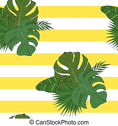 The leaves of the tropical palm trees. Pattern.