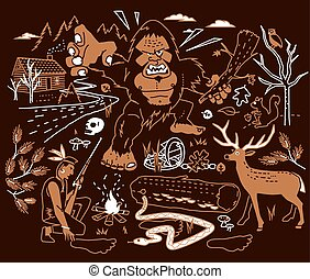 The Legend of Bigfoot - Stylized art of Bigfoot being...